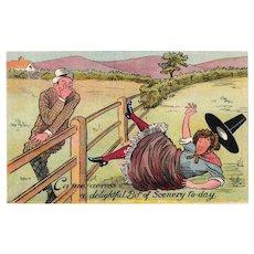 1920s Llythyr Gerdyn Humor Postcard Man Looking Up Woman's Dress