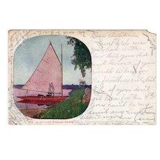 1906 Undivided Back Genuine Fishing Smack Couple Kissing Postcard