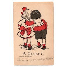 1907 D Hillson A Secret Vintage Postcard Two Children with Arms Around Each Other