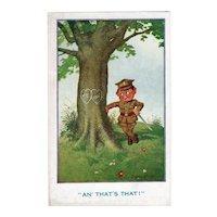 ca1920 Romantic Soldier Vintage Comic Postcard