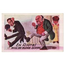 1908 En Route! Will Be Home Soon Humor Postcard Farther Kicking Out Suitor