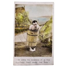 ca1910 Postcard Naked Man Wearing Barrel I'm Open To Confess It Is The Clothes That Make The Man