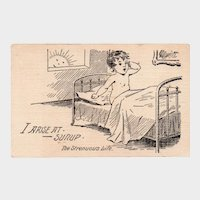 1908 I Arise At Sunup The Strenuous Life Baby Waking Up Humor Postcard