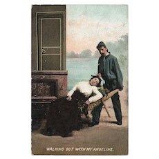 1907 Man Wheeling Sleeping Woman Out In A Wheelbarrow Vintage Humor Postcard