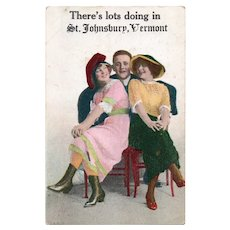 1916 There's Lots Doing In St. Johnsbury Vermont Vintage Humor Postcard