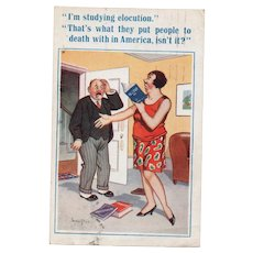 1934 British Humor Comic Postcard Woman Studying Elocution