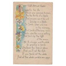 1921 LF Pease The Smile Cure Poem Vintage Greeting Postcard