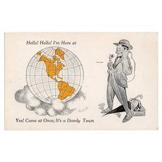 1930s Man On Phone It's a Dandy Town Vintage Postcard