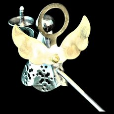 Angel candle snuffer with gold wash halo and wings