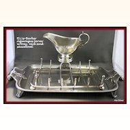Barker Ellis silver asparagus server or stand with tray, drainer and sauce boat