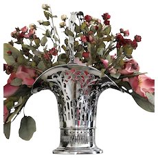 "Stately sterling floral basket 17"" tall vase, early Gorham ca. 1913"