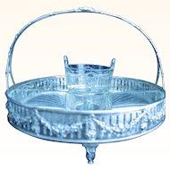English silver and crystal basket