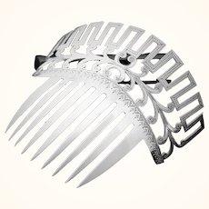 Bride's wedding comb in coin silver