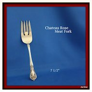 Chateau Rose meat fork in solid sterling silver by Alvin