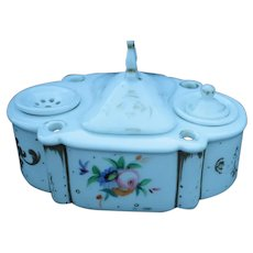 Inkwell by Nippon Porcelain w/Floral and Gold designs