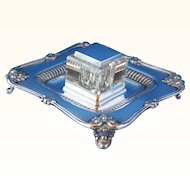 Sterling and crystal inkstand with footed tray ca 1883
