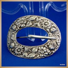 Repousse buckle pin in solid sterling silver by Stieff