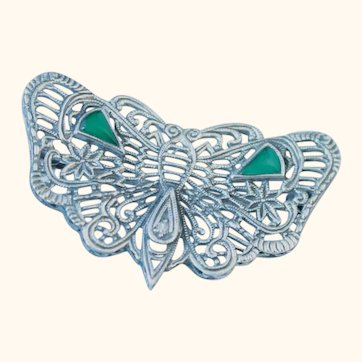 Vintage filigree sterling butterfly pin
