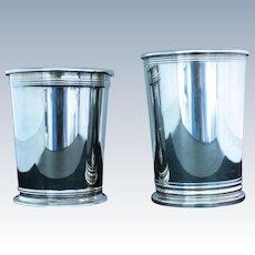 Mint julep cups in silverplate