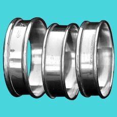 Three Reed & Barton sterling napkin rings