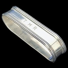 Classic oval sterling napkin ring by Lunt w/TMR