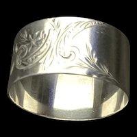 Gorham LAG hand chased sterling napkin ring