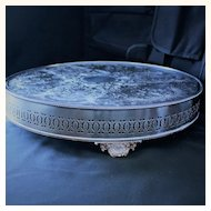 """Plateau 16"""" x 3 1/4"""" tall stamped Neiman Marcus silverplate on copper, made in Sheffield England"""