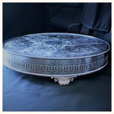 """Neiman Marcus 16"""" silver plated wedding cake plateau made in Sheffield, England"""