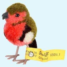 Tiny Sister Earliest Post-WWII Series Steiff Wool Miniature Robin PomPom Bird All ID