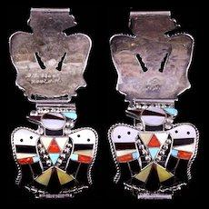B.C. Shack Zuni Silver & Stone Artisans Wrist Watch Band Decorative Thunderbird End Pieces
