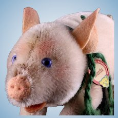 Rare Earliest Post WWII Model Steiff Jolanthe Pig Glass Eyes Red-Printed Chest Tag Smallest Mohair Sister