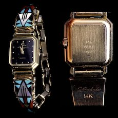 14K Gold Baume Mercier Ladies Wrist Watch Bracelet Navajo Goldsmith Tim Bedah Zuni Lapidarist Viola Eriacho