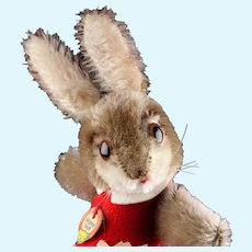 Rare Steiff BETTHUPFERLHASE Dressed Nightcap Bunny Rabbit Red Dress ID