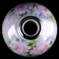 Opalescent Glazed Porcelain Maybe Silver Overlay Collar Cabinet Vase GDA Limoges France