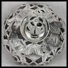 Antique Alvin Silver Overlay Steuben Lobed Perfume Bottle Shape 1455