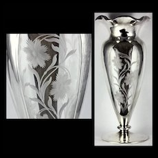 Unusual Antique Alvin Sterling Silver Vase Deep Etched Glass Panels with Flowers