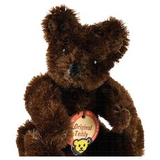 Early Post WWII Steiff Tiny Brother 5xJointed Dark Brown Original Teddy Bear Red-Printed Chest Tag