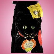 Tiny Brother Next to Smallest Steiff Midnight BLACK Velveteen Tom Cat Kitten All ID