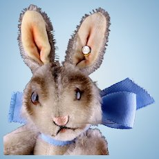 Early Smallest Steiff 5xJointed Niki Rabbit Bunny Hase Rare Gorgeous DARK GRAY Coloring ID