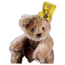 Rare Early Post WWII Steiff Tiniest Brother 5xJointed Original Teddy Bear All ID Red-printed Chest Tag