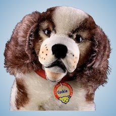 Rare Early Post WWII Little Sister Seated Steiff Cockie Cocker Spaniel Puppy Dog All ID Near Mint