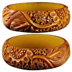Mid 20th Century Deeply Hand Carved Genuine Bakelite Bangle Bracelet Flowers and Leaves