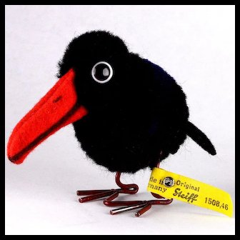 Steiff Wool Miniature PomPom Raven Bird w Metal Legs & Glass Googly Eyes All ID