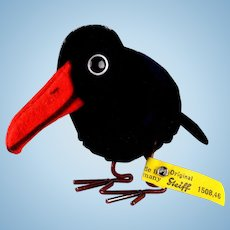 Steiff Wool Miniature PomPom Raven Bird w Metal Legs & Glass Googly Eyes All ID