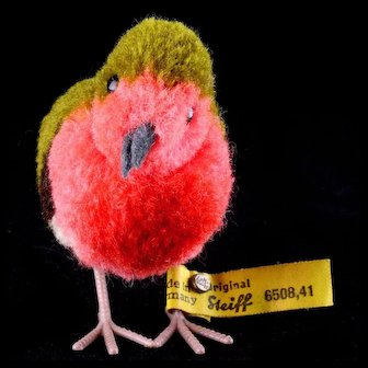 """Big"" Sister Steiff Wool Miniature PomPom Robin Bird Gorgeous Coloring All ID"