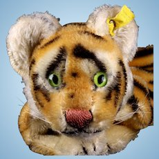 Rare Earliest Model 1950s Steiff Tiger Wild Cat Hand Puppet 2 IDs
