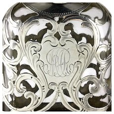 Antique Alvin Sterling Silver Overlay Lady's Liquor Flask
