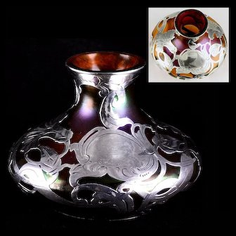 Gorgeous European Antique La Pierre Silver Overlay IRIDESCENT Cabinet Vase