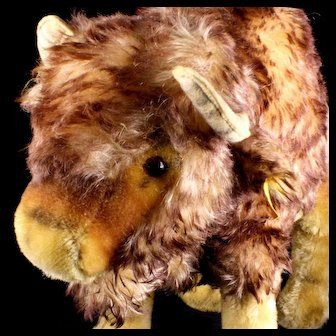 Rare Ugly Cute Largest Brother Steiff Bison Made For US Market Only 1960 1330,90 2 IDs