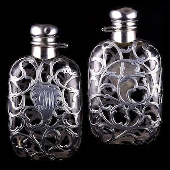 Small Antique Lady's Sterling Silver Overlay Drinking Liquor Flask Bottle